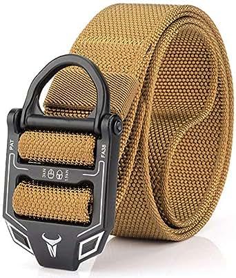 "49 * 1.77"" ZEVNI Men Tactical Buckle Belt Military Nylon Belt Training Belt Strap (49 inches(125 CM), Khaki)"