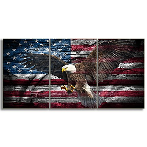 KALAWA Modern Wall Decor Canvas Prints Wall Art Bald Eagle with American Flag Patriotic Concept 3 Panel Home Decoration Stretched Gallery Canvas Wrap Giclee Print Ready to Hang(16''W x 24''H) ()