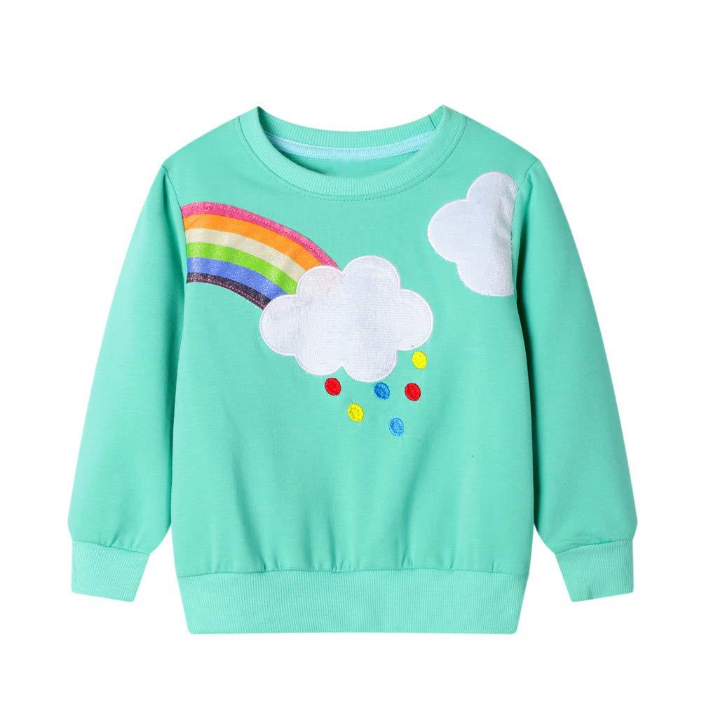 wuayi Unisex Kids Sweatshirts Boys Girls Dinosaur Rabbit Rainbow Long Sleeve Pullover Tops T-Shirts Kids Clothes Fall Winter