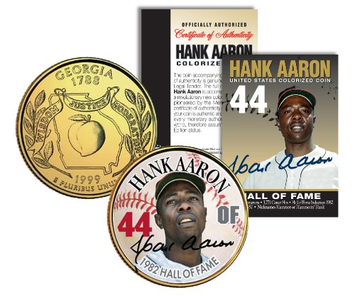- HANK AARON * Hall of Fame * Legends Colorized Georgia Quarter Gold Plated Coin