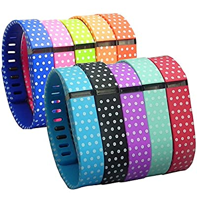 HopCentury Replacement Fitbit Flex Wrist Bands Wristbands Straps Bracelet Kit with Secure Fastener Sleeve Ring & Metal Clasp for Fitbit Flex Tracker Polka Dot 10 Pack