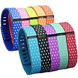 HopCentury Replacement Fitbit Flex Wrist Bands Wristbands Straps Bracelet Kit with Secure Fastener Sleeve Ring & Metal Clasp for Fitbit Flex Tracker Polka Dot 10 Pack - Small