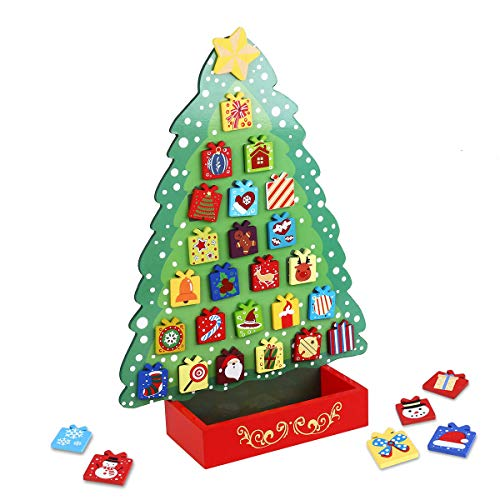 Unomor Wooden Advent Calendar with 31 Magnets, Countdown to Magnetic Christmas Advent Calendar Tree ()