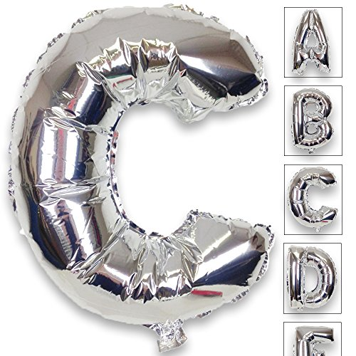 Just Artifacts Shiny Silver (30-inch) Decorative Floating Foil Mylar Balloons - Letter: C - Letter and Number Balloons for Any Name or Number Combination!