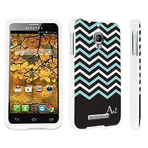 DuroCase ? Alcatel One Touch Fierce 7024W Hard Case White - (Black Mint White Chevron A)