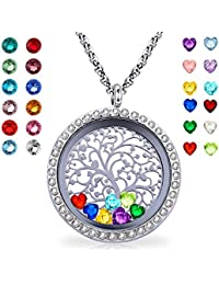 Floating Living Memory Locket Pendant Necklace Family Tree of Life Birthstone Necklaces Mothers Day Gifts
