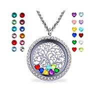 Floating Living Memory Locket Pendant Necklace Family Tree of Life Birthstone Necklaces Mothers...