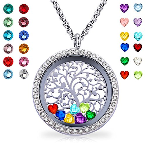 YOUFENG Floating Living Memory Locket Pendant Necklace Family Tree of Life Necklace All Birthstone Charms Include (Family Tree CZ (Birthstone Necklace)