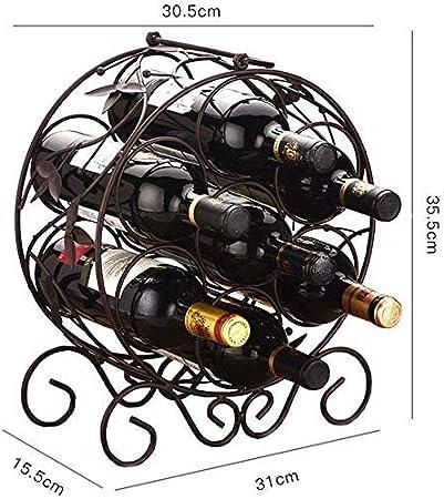 CCLLA Portabotellas de Metal sobre encimera con 7 Botellas de Metal sobre encimera Portabotellas de Vino sobre encimera Portabotellas Redondo Estilo Botella clásico Bar, Bodega, ar