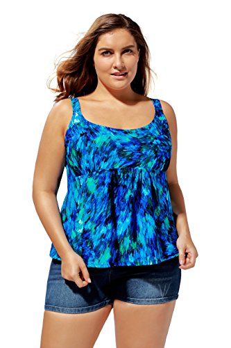 Attraco Women's Flower Tankini Top Plus Size Swimwear Scoopneck Swimsuit ,Deep Blue,18 Plus by ATTRACO