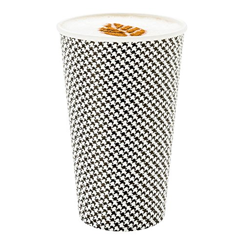 - 500-CT Disposable Houndstooth 16-oz Hot Beverage Cups with Spiral Wall Design: No Need for Sleeves - Perfect for Cafes - Eco Friendly Recyclable Paper - Insulated - Wholesale Takeout Coffee Cup