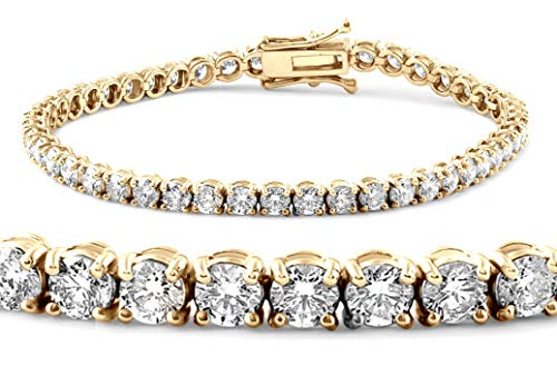 Jewlery By Bruno 9.00 Carat Certified Classic Diamond Tennis Bracelet for women 14k Yellow Gold (E Color,VS1/VS2 Clarity)