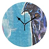 HCMusic Round Greyhound Dog Wall Clock- Non Ticking Digital Quiet Sweep Clock, Decorative for Office Living Room Bedroom, 10 Inch
