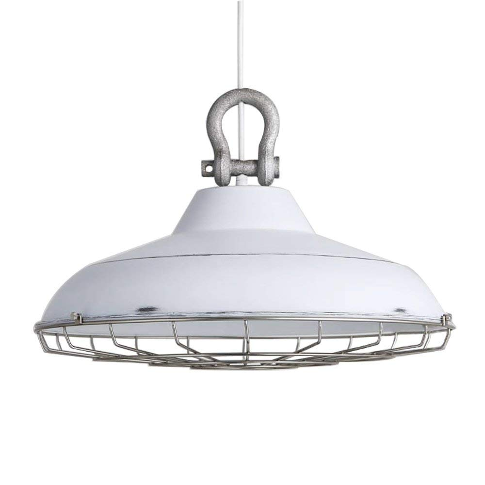 Amazon com mutang loft retro industrial style 18 pendant light fixtures retro rustic warehouse white shade hanging ceiling lighting with wire cage home