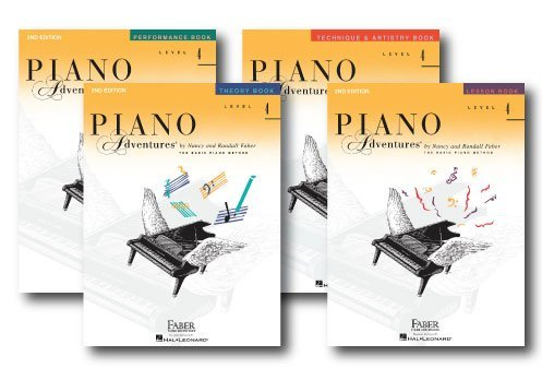 Faber Piano Adventures Level 4 Learning Library Pack Four Book Set - Lesson, Theory, Performance, and Technique & Artistry Books