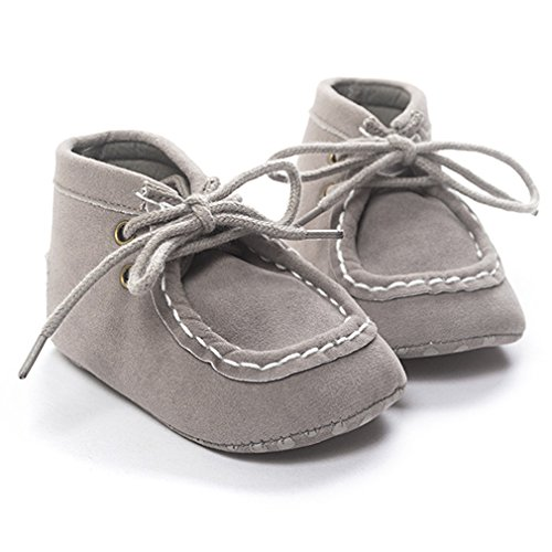 DESDEMONA Baby soft bottom non-slip high-top shoes 12-18 months boy or girl toddler shoes (S(0-6), Gray)