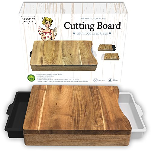 Kristie's Kitchen Cutting Board with Trays - Organic Acacia Wood Butcher Block with Containers White - Cutting Tray Board