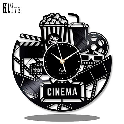 Reel Clock - Cinema Vinyl Wall Clock-Unique Home Theater Movie Night Film Reels Popcorn Wall Decor Home Decorations-Best Gift for A Movie Lover Unique Gift to Your Friends and Family for Any Occasion