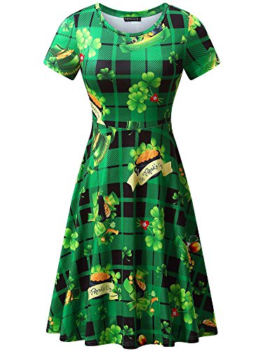 FENSACE Womens Short Sleeves Casual A-line Green Tree Printed Christmas Dress (Large, Green Hat) -