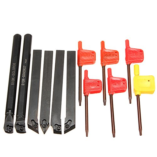 Hitommy 6Pcs 10mm Shank Lathe Indexable Boring Bar Turning Tool Holder Set