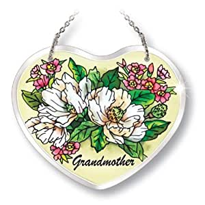 Amia Beveled Glass Suncatcher Hand-painted Heart Shape, Grandmother With Floral Design, 5 By 4-1/8-inch