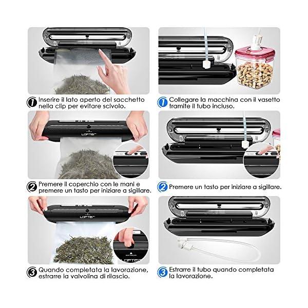 Macchina Sottovuoto per Alimenti Professionale LOFTER Sigillatrice Sottovuoto Automatica Portatile Vacuum Sealer… 5