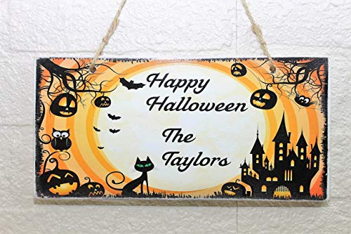Personalized Your Name Black Cat Halloween Wood Sign