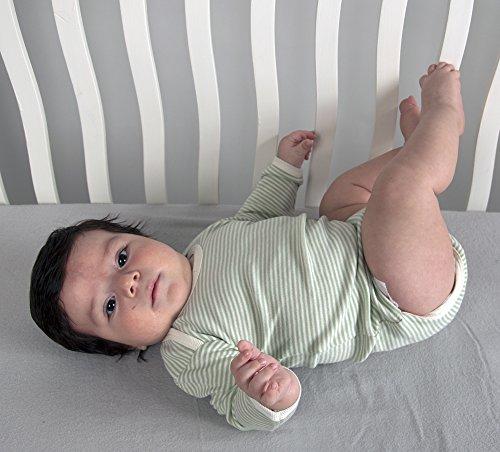 Tadpoles Long Sleeve Organic Cotton Kimono Onesie, Sage, 6-9 months