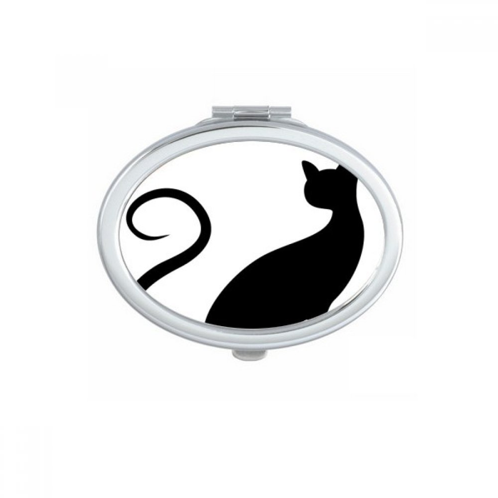 Elegant Black Cat Animal Art Silhouette Protect Animal Oval Compact Makeup Pocket Mirror Portable Cute Small Hand Mirrors Gift