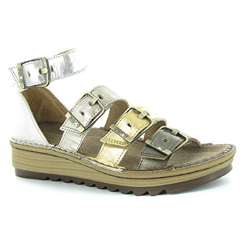 Gold Silver Naot Leather Leather Pewter Luster Strap Ankle Sandals Gold Begonia Satin Women's Leather qx7qTrFv