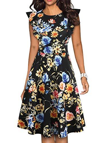 (YATHON Summer Dress Elegant Women's A Line Black Floral Print Fit and Flare Business Casual Work Homeyee Formal Wedding Guest Dress for Juniors (M, YT001-Black Floral 03))