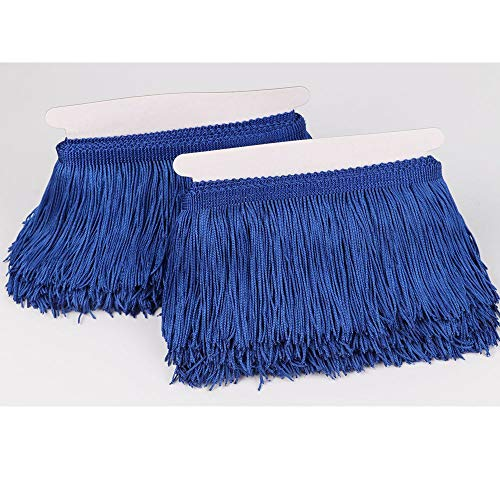Heartwish268 Fringe Trim Lace Polyerter Fibre Tassel 4inch Wide 10 Yards Long for Clothes Accessories Latin Wedding Dress DIY Lamp Shade Decoration Black (Royal Blue) (Fiber Tassel Pack)