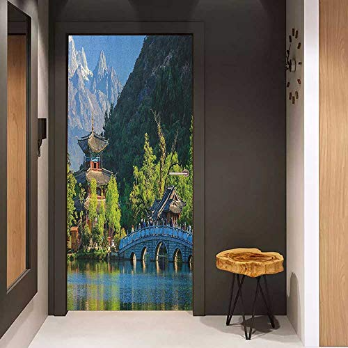 Onefzc Door Wall Sticker Ancient China Old Town Scene of Lijiang Black Dragon Pool Park Jade Dragon Snow Mountain Mural Wallpaper W30 x H80 Multicolor -
