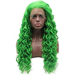 Iewig Long Curly Green Synthetic Lace Front Half Hand Tied Heat Friendly Wig