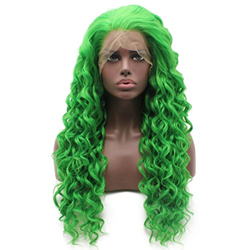 Iewig Long Curly Green Synthetic Lace Front Half Hand Tied Heat Friendly Wig -