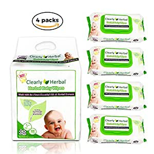 Clearly Herbal Gentle Baby Wipes (72 ct bag of 4 = 288 wipes)