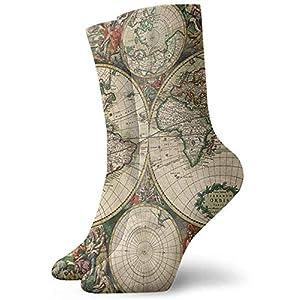 kslae Mapamundi clásico calcetines de la novedad calcetines atléticos medias 30 cm