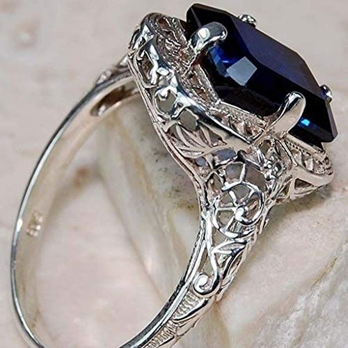 Sinwo Women Exquisite Ring Sea Blue Sapphire Diamond Jewelry Cocktail Party Bridal Engagemen Ring Gift (Blue, 6) by Sinwo (Image #2)
