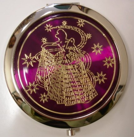 Purse Handbag Double Compact Cosmetic Mirror - Girl - Dark Purple
