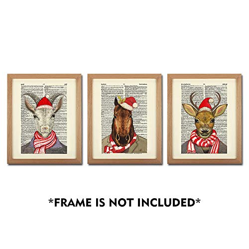 SUMGAR Wild Animals Vintage Art Prints Goat Horse Deer Dictionary Paper Posters Unframed Photos Xmas Gifts Home ()