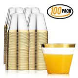 100 Gold Plastic Cups ~ 9 oz Clear Plastic Cups Old Fashioned Tumblers ~ Gold Rimmed Cups Fancy Disposable Cups Reusable Cups for Parties Weddings Graduation Birthday