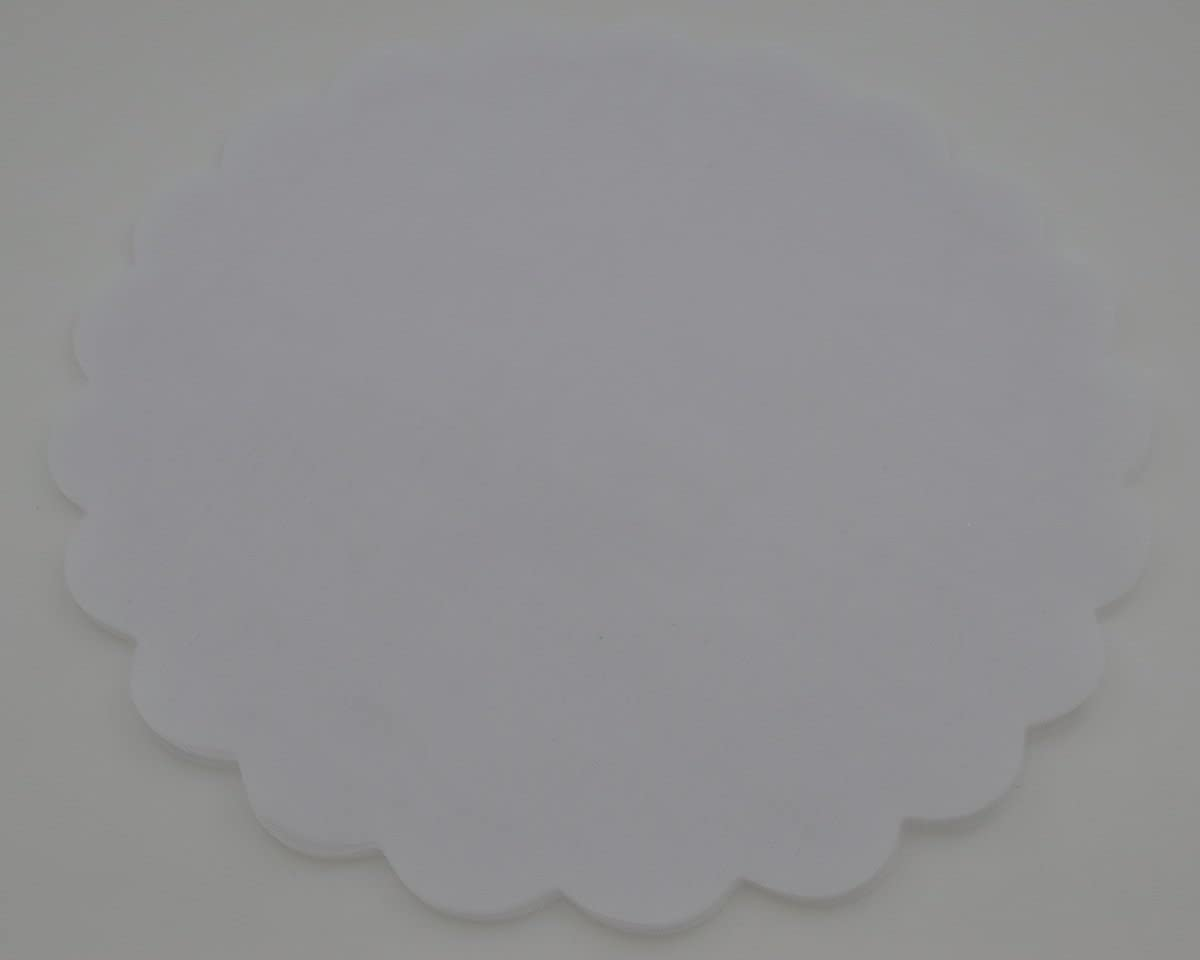 Organza Scalloped Edge Tulle Round Circles Wedding Favor 24cm Dia Ivory Pack of 100Pcs