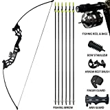 D&Q Archery Recurve Bowfishing Bow and Arrow Set 30 lbs 40 lbs with Complete Fishing Reel & Seat Ready for Fishing Hunting Shooting Pratice Takedown Bow Kit Right Handed
