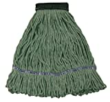Wilen A11301, E-Line Looped End Wet Mop, Small, 5'' Mesh Band, Green (Case of 12)