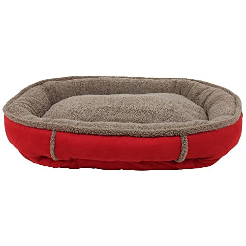 1 Piece Crimson Red Medium 36 Inches Bolster Round Comfort Pet Bed, Light Red Color Comfy Cup Style Indoor Bed For Puppy Dog, Raised Sides Joints Support Removable Cover, Loft Polyester Faux (Berber Comfy Cup)