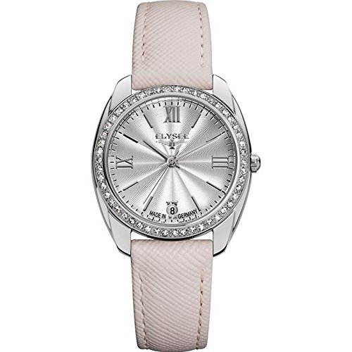 ELYSEE Women's 'Ladies-Edition' Quartz Stainless Steel and Leather Casual Watch, Color:Champagne (Model: 28600.0)
