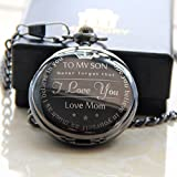 """""""To My Son - Love Mom """" From Mother to Son Gifts From a Mother to a Son Pocket watch Alfy"""