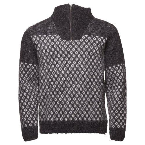 ICEWEAR Eiriku Men's High Collar Sweater Nordic Knit Design 100% Icelandic Wool Long Sleeve Winters Quarter Zip Sweater | Gray - Medium