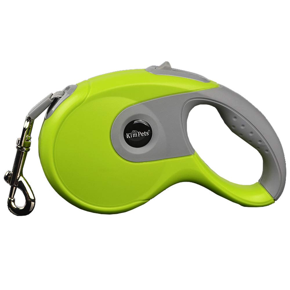 Retractable Dog Leash,Nylon Ribbon Dog Leashes with One Button Brake & Lock, Comfortable Hand Grip, Tangle Free,Dog Walking Leash,Green,M