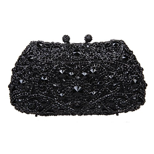 Fawziya Kisslock Purse Mini-Size Evening Bags And Clutches For Women-Pure Black